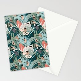 Pugs and Tropical Plants Stationery Cards