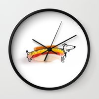 hot dog Wall Clocks featuring Hot Dog by Ana Sofia Santos