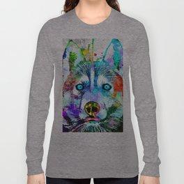 Husky Dog Watercolor Grunge Long Sleeve T-shirt