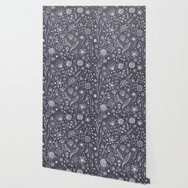 Chalkboard Flowers Wallpaper