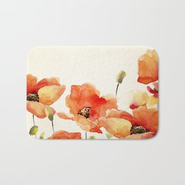 Poppy Flower Meadow- Floral Summer lllustration Bath Mat
