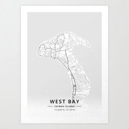 West Bay, Cayman Islands - Light Map Art Print