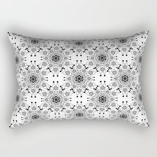 Black lace print elegant ornament Rectangular Pillow