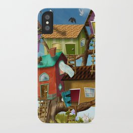 Home Sweet Tiny Tree Houses iPhone Case