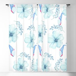 Renaissance Magic Gnome Blue Flowers Blackout Curtain