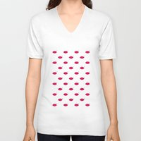 lips V-neck T-shirts featuring lips by namaki