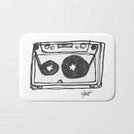 """Tape"" Hand Drawn Cassette Black / Clear Bath Mat"