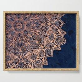 Rose Gold Mandala on Deep Blue Serving Tray