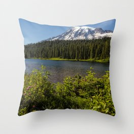 Wildlflower Color by Reflection Lake and Mt Rainier, No. 1 Throw Pillow