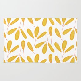 Retro Yellow Leaves Rug