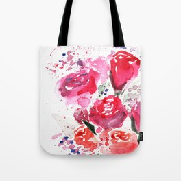 Abstract Watercolor Red Roses Tote Bag