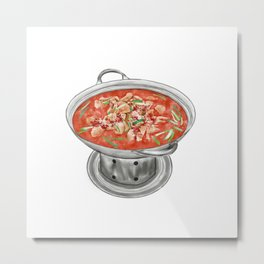 Watercolor Illustration of Chinese Cuisine - Hunan Stewed Lamb in Brown Sauce | 湖南红焖羊肉 Metal Print