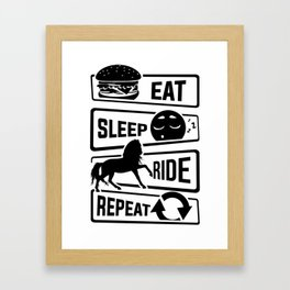 Eat Sleep Ride Repeat - Rider Riding Horse Saddel Framed Art Print