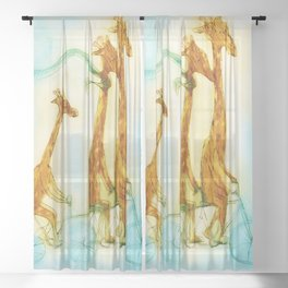 Family of giraffes rides a bicycle-tandem Sheer Curtain