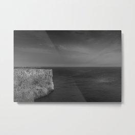 Cabo de S. Vicente, Sagres, Algarve Portugal. Black and white version. Metal Print