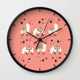 White Llamas in a pink desert Wall Clock