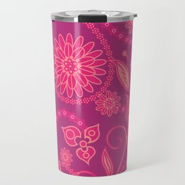 Hot Pink Panther Floral Travel Mug