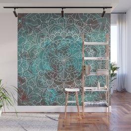 Rusty Cyan Red Mandala Design Wall Mural
