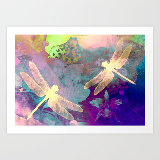 Painting Dragonflies and Orchids A Art Print