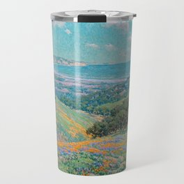 Malibu Coast, California with wild poppies floral seascape painting by Granville Redmond Travel Mug