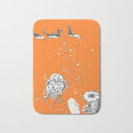 Two Tailed Duck and Jellyfish Orange Bath Mat