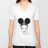 minnie V-neck T-shirts featuring Minnie Mouse by Bella Harris