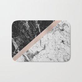 Monochrome marble designer - rose gold Bath Mat
