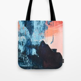 Delight: a vibrant abstract painting in blues and coral by Alyssa Hamilton Art Tote Bag