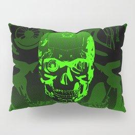 Gamer Skull CARTOON GREEN / 3D render of cyborg head Pillow Sham
