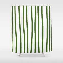 Simply Drawn Vertical Stripes In Jungle Green Shower Curtain