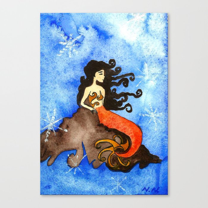 Winter Mermaid Canvas Print