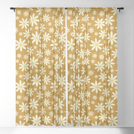 Retro Groovy Daisy Flower Power Vintage Pattern in Ivory , Ochre Orange and Yellow , Beautiful Oil Texture Sheer Curtain