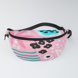 Mid-Century Modern Design in Party Pink and Teal Blue Fanny Pack
