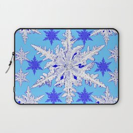 BABY BLUE SNOW CRYSTALS BLUE WINTER ART DESIGN Laptop Sleeve