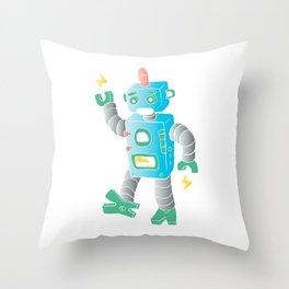 cartoon toy robot. Throw Pillow