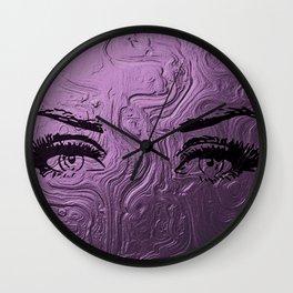 Super purple glam lashes Wall Clock