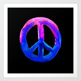 Pink Blue Watercolor Tie Dye Peace Sign Art Print