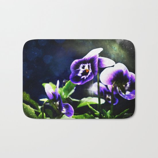 Violet Johnny Jump Ups And Stars Bath Mat