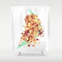 jennifer lawrence Shower Curtains featuring Jennifer Lawrence by Rene Alberto