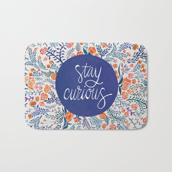 Stay Curious – Navy & Coral Bath Mat