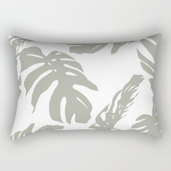 Simply Retro Gray Palm Leaves on White Rectangular Pillow