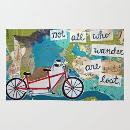 Not all who Wander are Lost - Red Tandem Bicycle Rug