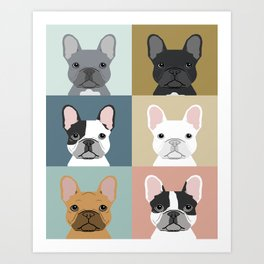 French Bulldog portraits pattern dog person gift love animal pet puppy frenchie bulldog valentines Art Print