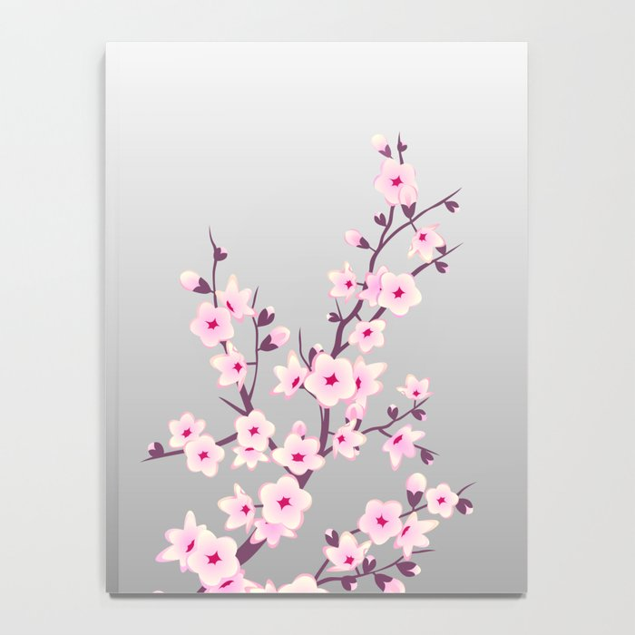 Cherry Blossoms Pink Gray Notebook