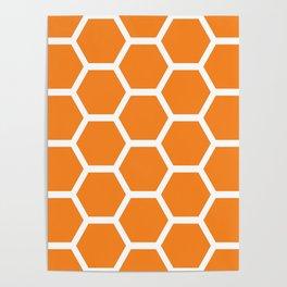 Orange Honeycomb Poster