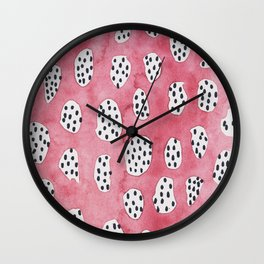 Abstract VI: pink camouflage h Wall Clock