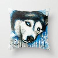 husky Throw Pillows featuring Husky by Villarreal