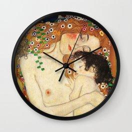 Mother and Baby - Gustav Klimt Wall Clock