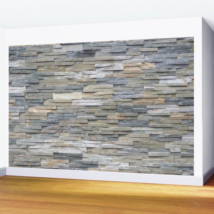 Gray Slate Stone Brick Texture Faux Wall Wall Mural