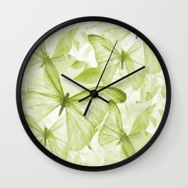 Butterflies And Flowers Green Illustration On White #decor #society6 #buyart Wall Clock